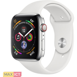 Apple Watch Series 4 GPS Cell 44mm staal witte band