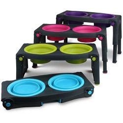 Popware Adjustable Height Pet Feeder Blauw