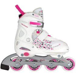 Nijdam Junior Inlineskates Junior Verstelbaar Semi Softboot Wit Fuchsia Paars 27 30