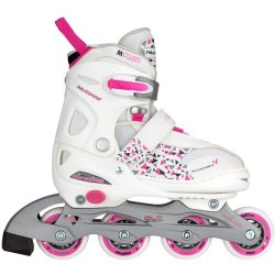 Nijdam Junior Inlineskates Junior Verstelbaar Semi Softboot Wit Fuchsia Paars 30 33