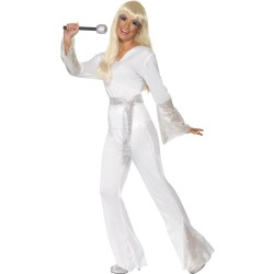 70s Abba Jumpsuit Wit in Display Tas